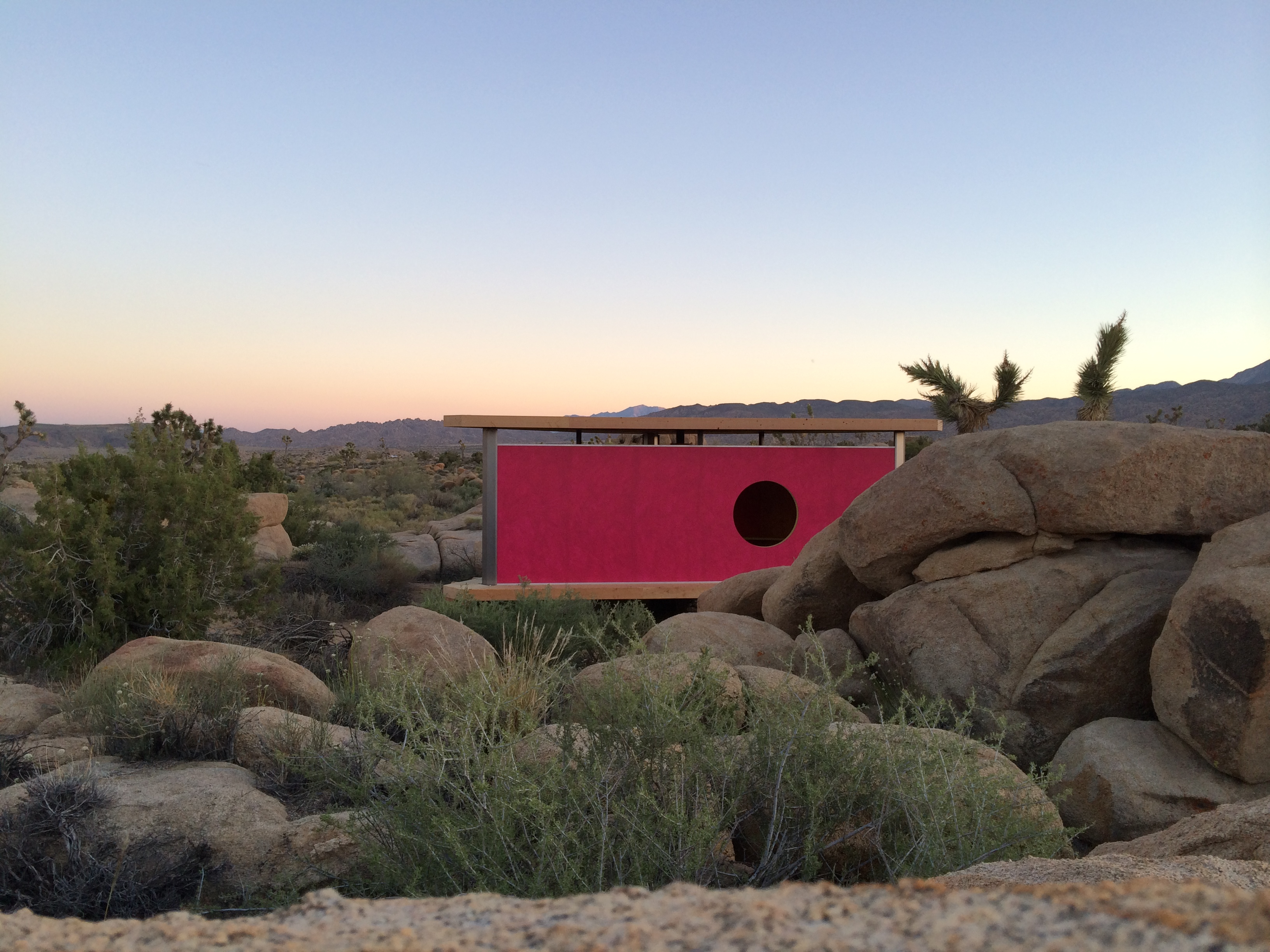 GRADUALLY / WE BECAME AWARE / OF A HUM IN THE ROOM installation by Halsey Rodman at High Desert Test Sites' Andy's Gamma Gulch parcel outside of Joshua Tree